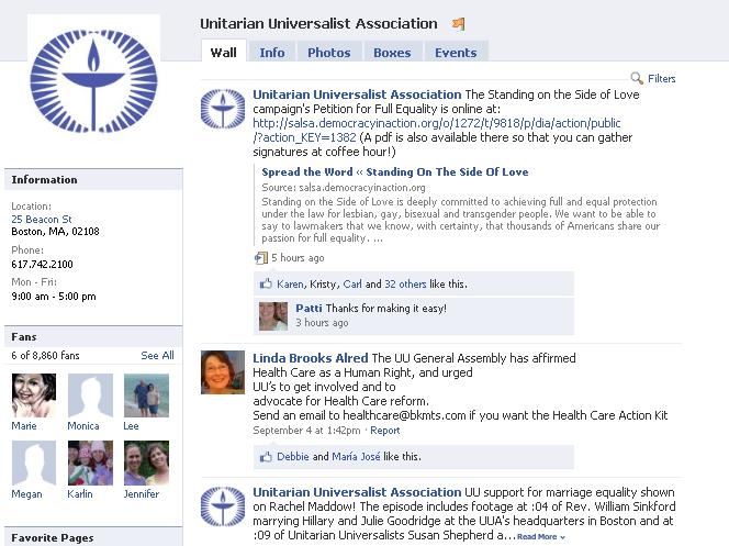 The UUA's Facebook page